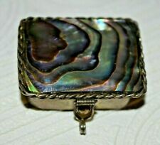 VINTAGE MEXICO STERLING SILVER MOTHER OF PEARL ABALONE SHELL PILL SNUFF BOX