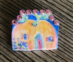 Julie Whitmore Pottery Hand Painted Pin Pumpkin House Pink Gems Signed JW 16