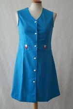 VINTAGE 60s Mod Retro Gogo BLUE HEART Daisy Scooter Mini Dress Size 6-8