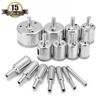 15PCS Diamond Glass Drill Bits Tile Hollow Core Extractor Hole Saw Remover Tools