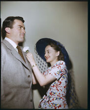 GREGORY PECK OLIVIA DE HAVILLAND Candid Color 4x5 Photo Transparency snipe 1946