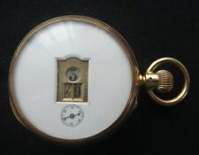 "RARE ANTIQUE VICTORIAN 18CT GOLD ENGLISH DIGITAL ""JUMP HOUR"" POCKET WATCH, c1885"