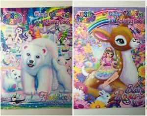 Lot of 2 NEW Lisa Frank Giant Coloring and Activity Books Polar Bear Elsu Deer