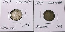 1919,1933 10 cents - Canada Very Good   Silver 2 -Coins