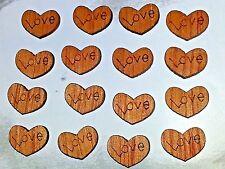 Wholesale 12x9x2mm LOVE Natural Wood Khaki Valentines Heart Cabochon's 10pcs.