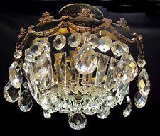 Antique/Vintage Crystal Prisms Basket Chandelier Brass Ceiling Light Fixture