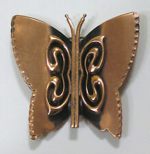 Vintage Jewelry Signed RENOIR Copper Figural Butterfly Brooch 1940s