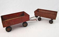 "Pair VIntage Red Metal Ertl Farm Trailers / Wagons 8"" Rubber Tires Swing Gate"