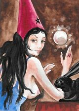 ACEO PRINT OF PAINTING RYTA MAGIC WITCH NUDE FANTASY ART RABBIT HALLOWEEN WITCH