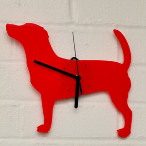 JACK RUSSELL TERRIER Shaped Modern Wall Clock Bedroom Home Decor Gift in RED