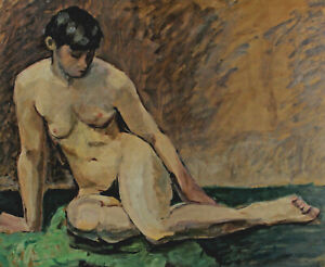 Seated Female Nude With Short Dark Hair