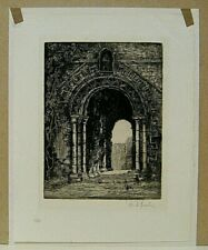 etching, Entrance to Castle Ruins, signed ?