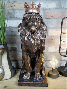 Bronze Lion With Crown Statue Majestic Jungle King Ornament Resin Home Sculpture