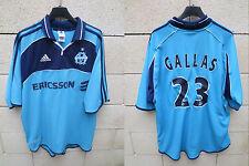 VINTAGE Maillot OM MARSEILLE Adidas GALLAS n°23 Ericsson années 90 shirt bleu XL