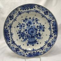 DELFT BLUE ZENITH GOUDA Signed Art Pottery Large Flower Wall Plate Signed 13''