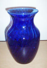 "Cobalt Blue Swirled Ribbed Glass Table Flower Vase Home Decor 8"" Tall 4.5"" W EUC"