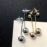 Fashion Gold Plated Women Bling Ball Earrings Long Chain Drop Dangle Jewelry