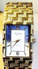 New Jules Jurgensen Mens Goldtone Bracelet Blue Mother Pearl Dial Dress Watch