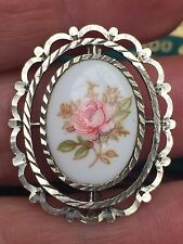 Antico Argento Sterling PORCELLANA PAINTED PINK ROSE Cameo SPILLA