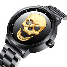 Men's 3D Skull Quartz Wrist Watch Stainless Steel Strap Steampunk Military Watch