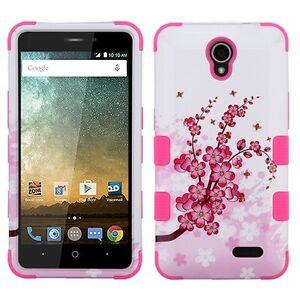 for ZTE Zfive 2 (Z837VL) - PINK FLOWERS Hybrid Shockproof Armor Phone Case Cover