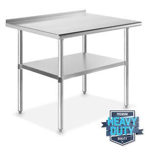 "Stainless Steel 24"" x 36"" NSF Kitchen Restaurant Work Prep Table with Backsplash"