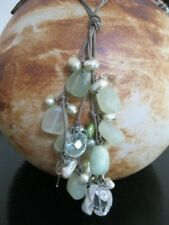 Double strand leather necklace gemstones and pearls-Gemstones & pearls necklace