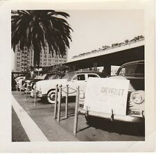 VINTAGE BW PHOTO OF A CAR LOT WITH CHEVY FLEET MASTER SNAPSHOT