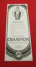 ADVERTISING PUB PUBLICITE ANCIENNE ADVERT 2.3 SUPERIORITE BOUGIES CHAMPION 1926