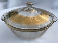 Fire King Georges Briard Glass Gold Fleck 2Qt Casserole Dish w/ Lid Vintage 50's