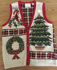Christmas sweater vest size small V-Neck button down front 1996 red green plaid