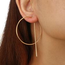 2018 Gold Silver Geometric Statement Big Circle Hoop Dangle Stud Metal Earrings