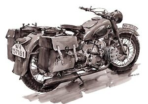 Poster painted BMW R71 motorcycle, fine art print