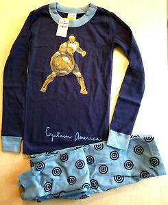 NWT Hanna Andersson CAPTAIN AMERICA MARVEL GOLD BLUE Organic Pajamas  110 5