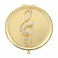 Monet Gold Tone Compact Rhinestone Treble Clef compact Dual Mirror New in Box