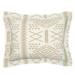 Moroccan Beige Boho Trendy Tribal Geometric Mudcloth Pillow Sham by Roostery