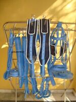 Navy & Light Blue 2 tone synthetic patent Driving harness for double horse cart.