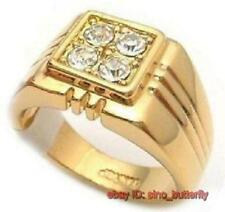 18K Gold Plated White Crystal Fashion mens ring ,size:  9# ,UK SIZE S#