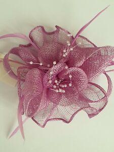 Beautiful LIGHT PURPLE  feather & flower design facinator wedding/