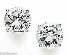 Solid 14K White Gold AAA 7mm 3 cttw CZ Screw Back Stud Earrings DFlawless SPARKL
