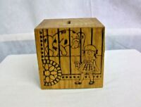 @AC-WO RALEIGH RAL/NC DATED 1976 WOODEN SQUARE COIN BANK for CAPITOL INCENTIVES