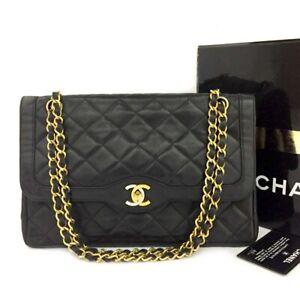 Vintage CHANEL Paris Limited Double Flap Quilted Lambskin Shoulder Bag /C1009