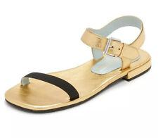 MARC JACOBS Gold Leather Elizabeth Flat Sandal 37