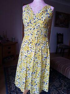 Hobbs yellow roses silk dress size 14
