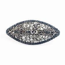 USA BARRETTE Rhinestone Crystal Hairpin Clip Vintage Elegant Simple Black Gray 2