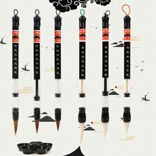 6Pcs Set Piston Water Ink Brush Chinese Calligraphy Weasel Hair  + Wool