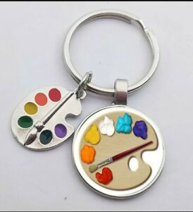 Silver Keyring With Artists Paint Palette 3D Novelty Gift Idea For Him Her 251
