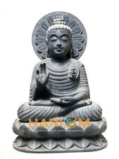 Decorative Black Marble Buddha Statue Indian Hand Carved Arts Collectible Gifts