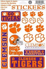 Clemson Tigers Vinyl Die-Cut Sticker Decals - 18 per sheet
