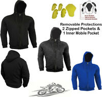 SPEED MAXX MENS FLEECE HOODIE REMOVABLE CE ARMOUR MOTORBIKE MOTORCYCLE JACKET